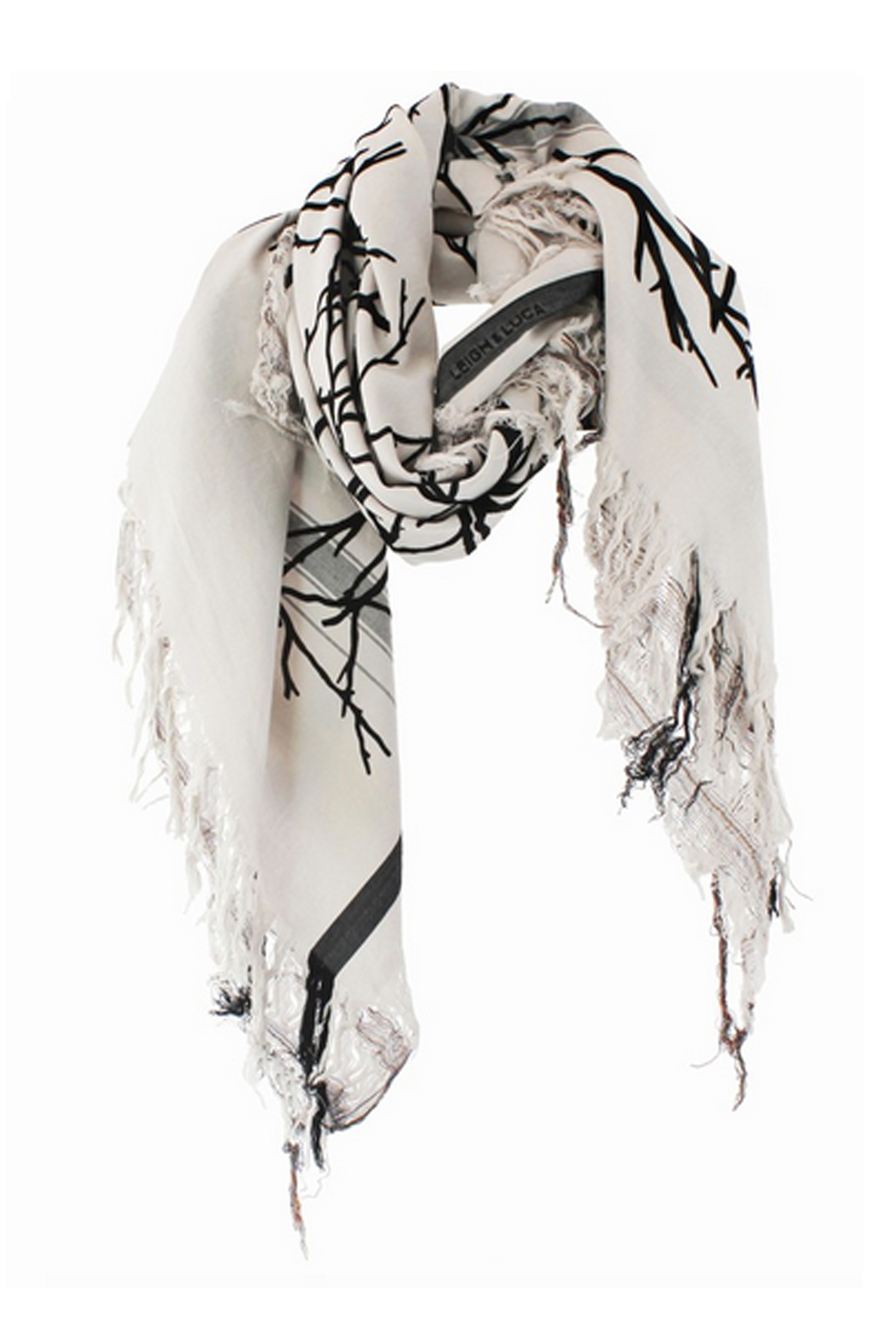 Branch White Square Scarf
