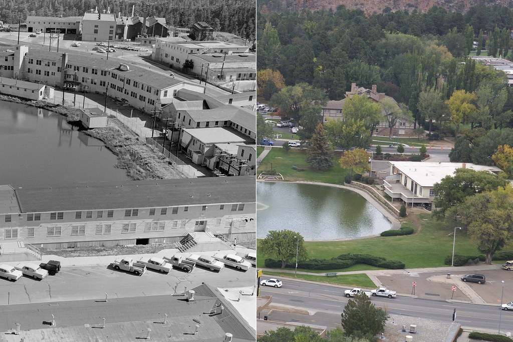 A comparison of Ashley Pond in the 1940s and 60 years later. Ashley Pond was named after Detroit businessman Ashley Pond who started the Los Alamos Ranch School in 1917.