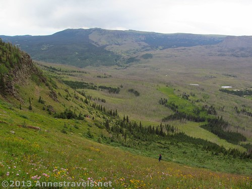 Hiking down from the Himes Peak ridge, Flat Tops Wilderness Area, Routt National Forest, Colorado