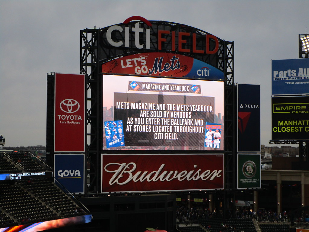 Citi Field, 04/14/15: scoreboard ad for 2015 Mets Yearbook