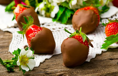 fresh strawberry in chocolate