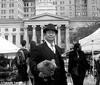Dr. Takeshi Yamada and Seara (sea rabbit) by the Brooklyn Borough Hall in Brooklyn, NY on September 16, 2014.  20140916 069==2CBW