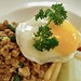 Mince pork rice with fried egg in Thai style