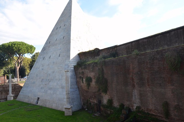 The Pyramid of Cestius, a monumental tomb for Gaius Cestius, built c. 18-12 BC, Rome
