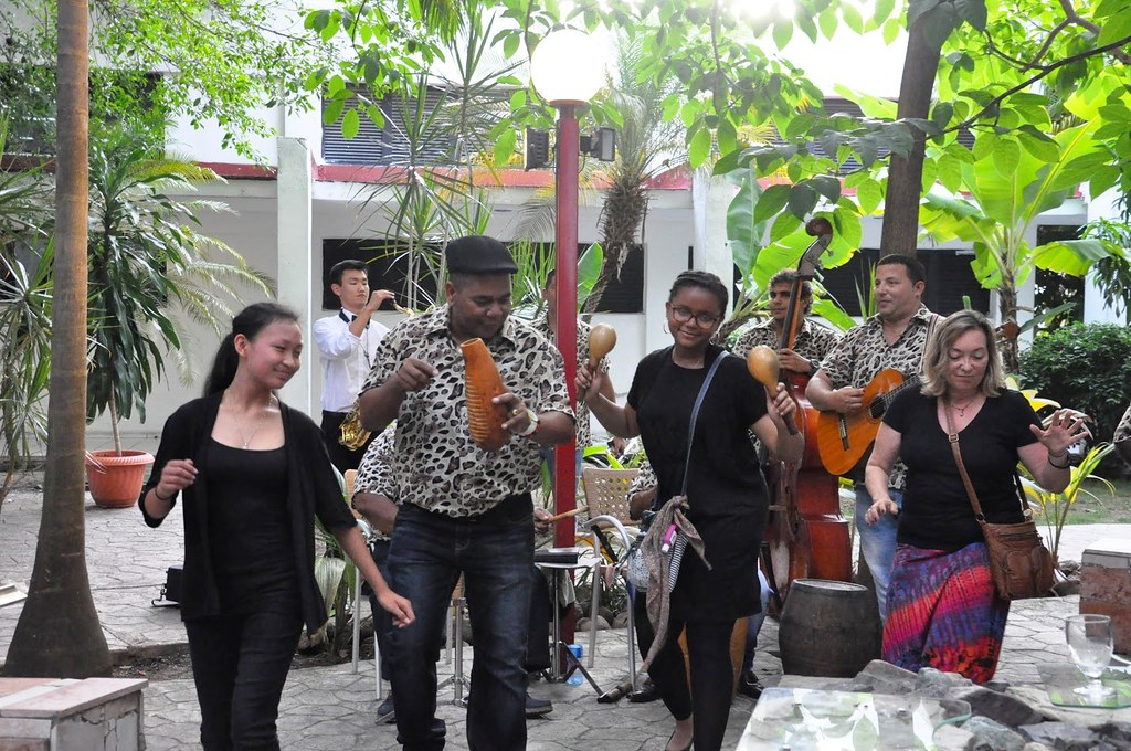 Oakland Symphony Youth Orchestra members perform with a local band at Hotel Jagua in Cienfuegos