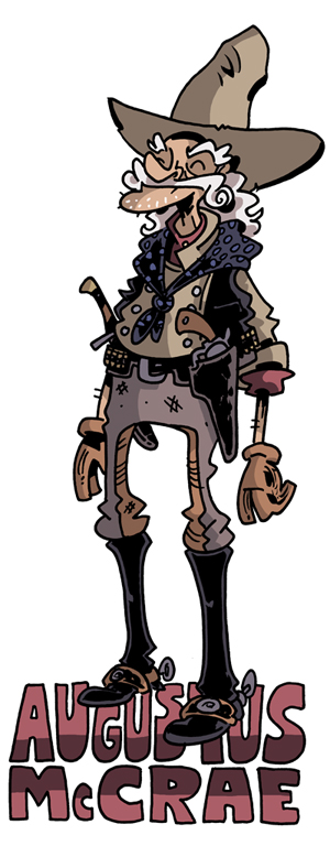 "Cartoon drawing/illustration of Captain Augustus ""Gus"" McCrae from Larry McMurty's LONESOME DOVE, drawn by Chris Schweizer"