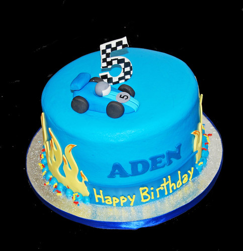 5th birthday blue racecar themed cake