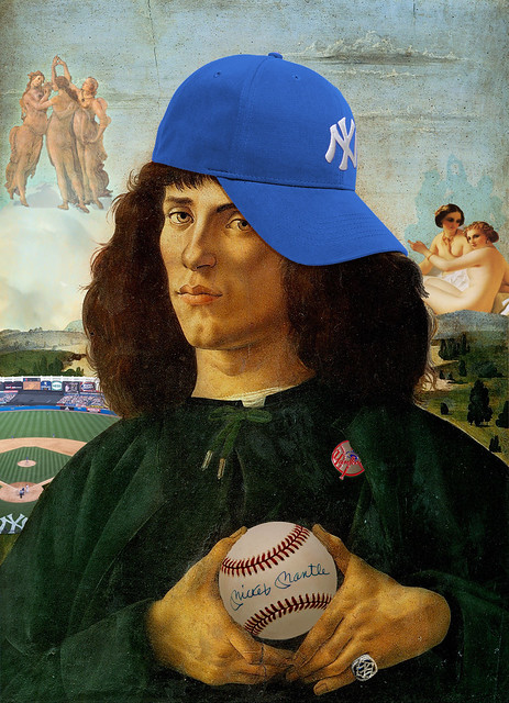 Yankee Fan with Blue Cap 7 from Sandro Botticelli Portrait of a man with the medal of cosimo (1474)