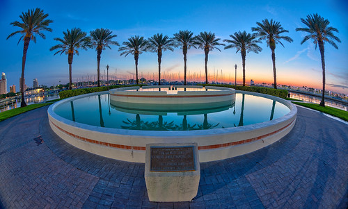 Fisheye Fountain Sunrise