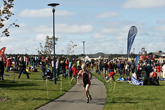 Competitors head off on the run around Lake Pegasus
