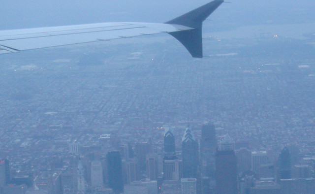 Philadelphia skyline from an airplane