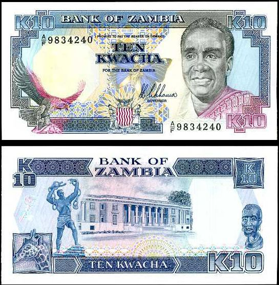 10 Kwacha Zambia 1989-91, Pick 31