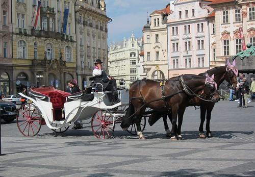 Hevonen ja rattaat Prahan torilla