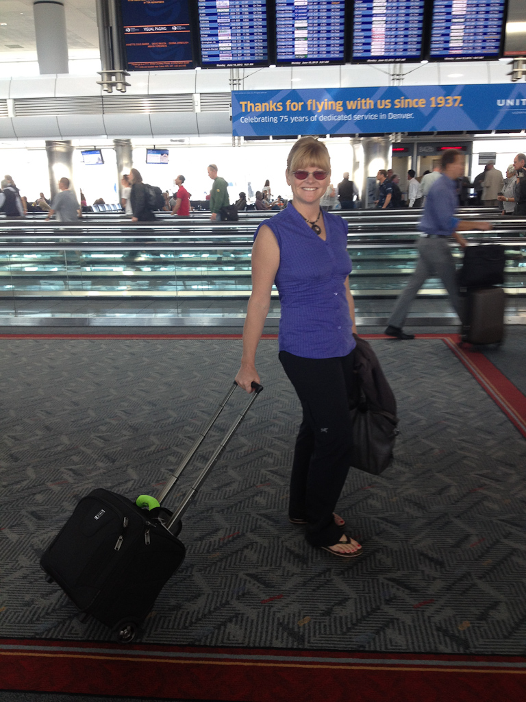 travel blogger deb of theplanetd at airport
