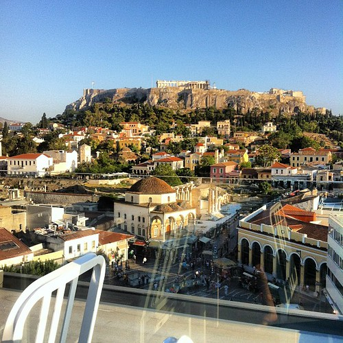 Rooftop drink watching the Acropolis