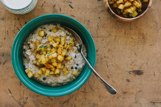 quinoa porridge w/ orange + rosemary apple