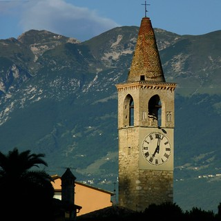 San Giovanni Church in Toscolano Maderno touched by late sunlight