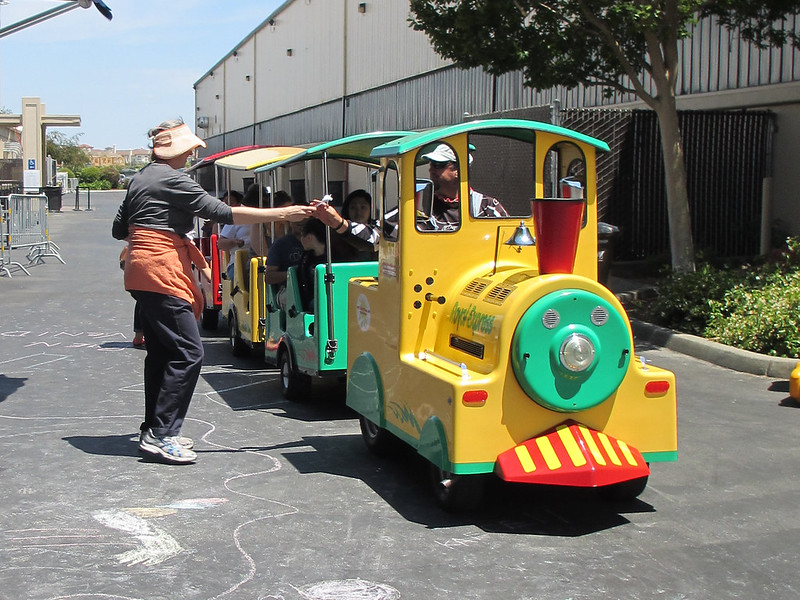 Tram passengers get a treat going by the SMCL Bookmobile!