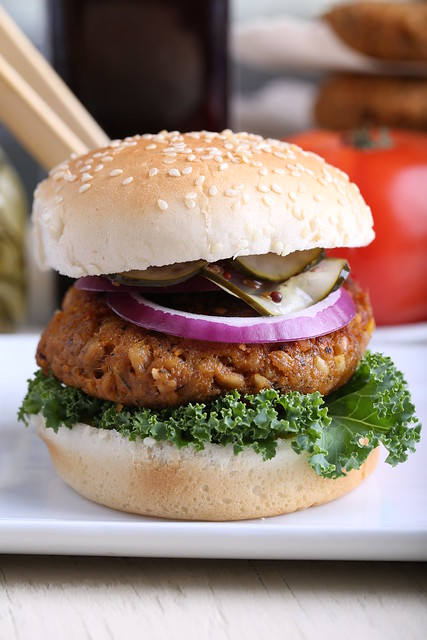 Sweet Potato, Farro and Walnut Burgers with Homemade Pickles