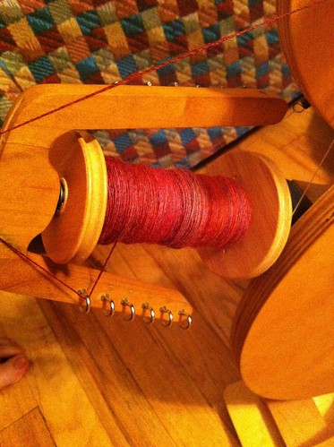 Tour de Fleece day 20 progress - almost up to half full on the second bobbin! by BlueDragon2