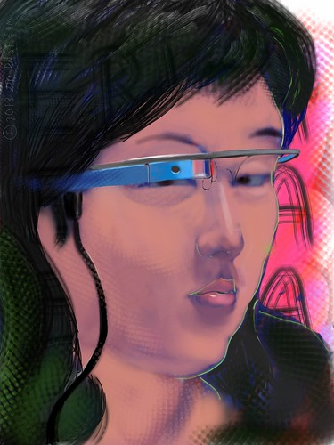 iPad Portrait of Erica Yamada at Breaking Glass Hackathon Today at Citizen Space by DNSF David Newman