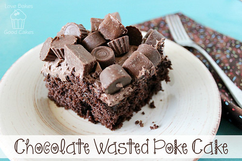 Chocolate Wasted Poke Cake piece on plate with a fork.