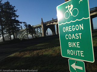 Yaquina Bay Bridge and bike route sign