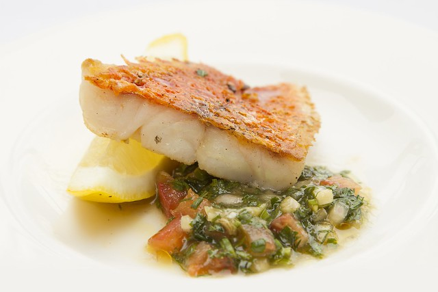 Red mullet fillet with sauce vierge  © Royal Opera House Restaurants 2013