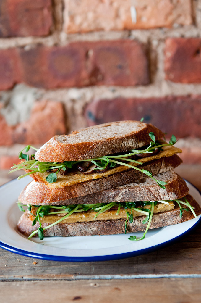 Cecina Sandwich with mushrooms and pea shoots