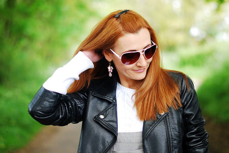 Red hair with a black leather jacket