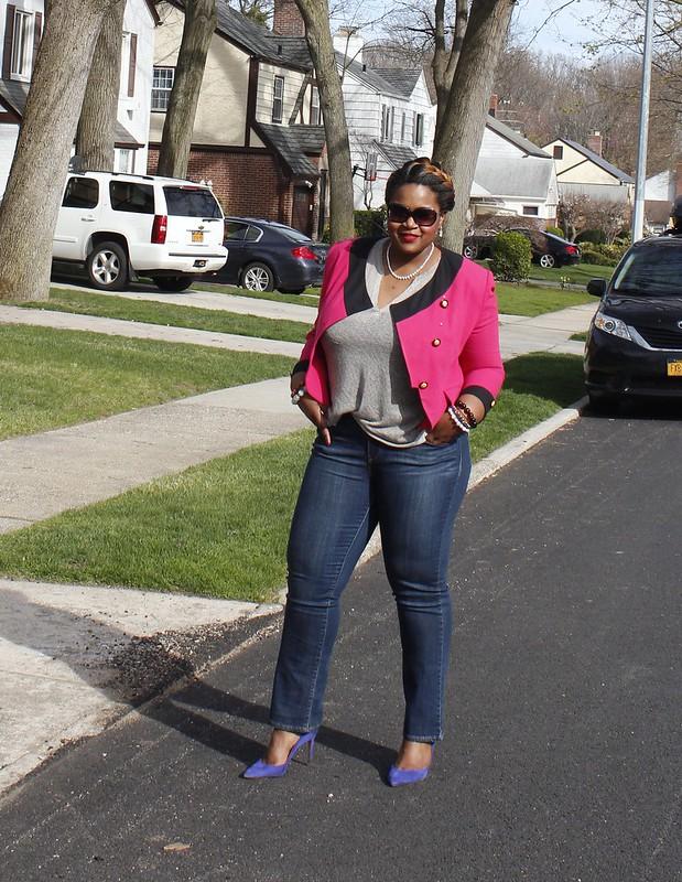 crop Jacket and denim Jeans