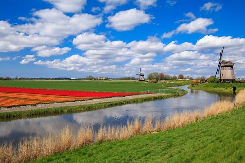 holland mill netherlands windmill clouds landscape day cloudy nederland sunny schermer ursem 02052015img17203