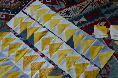 7. Sew a Second Column of Quilt Pairs in Similar Fashion (steps 1-6), Iron Seams Open