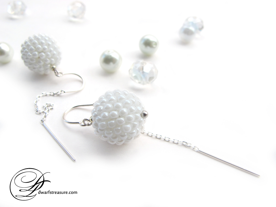 Supreme white beaded ball silver earrings