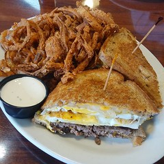 Patty melt with a fried egg and onion strings... #lifeistasty #foodiusmaximus