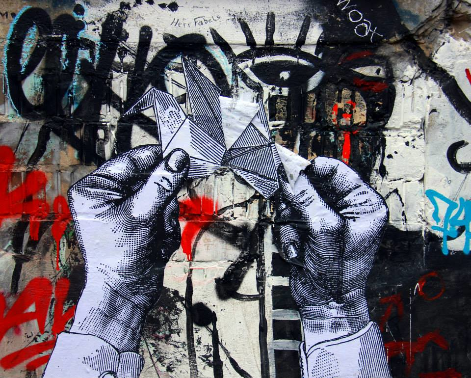 The black and white origami series of Berlin street art