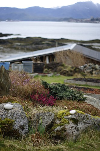 Layers of garden, house, ocean and Prince Rupert beyond