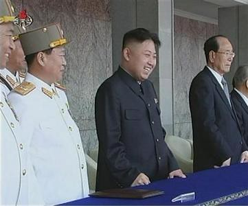 Kim Jong Un, First Secretary of Korean Worker's Party, greeting the multitudes at the celebrations for the 100th birthday of the founder of the DPRK, Kim Il Sung. The event took place on April 14, 2012. by Pan-African News Wire File Photos