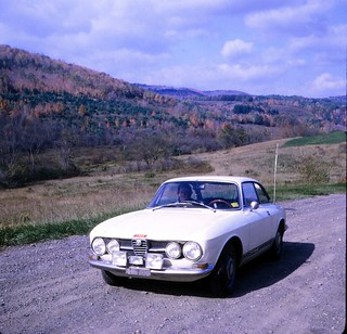 New York   -   Southwest of Albany   -  My mother in the Alfa  -  October 1970