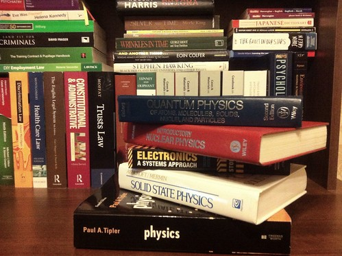 A pile of physics books