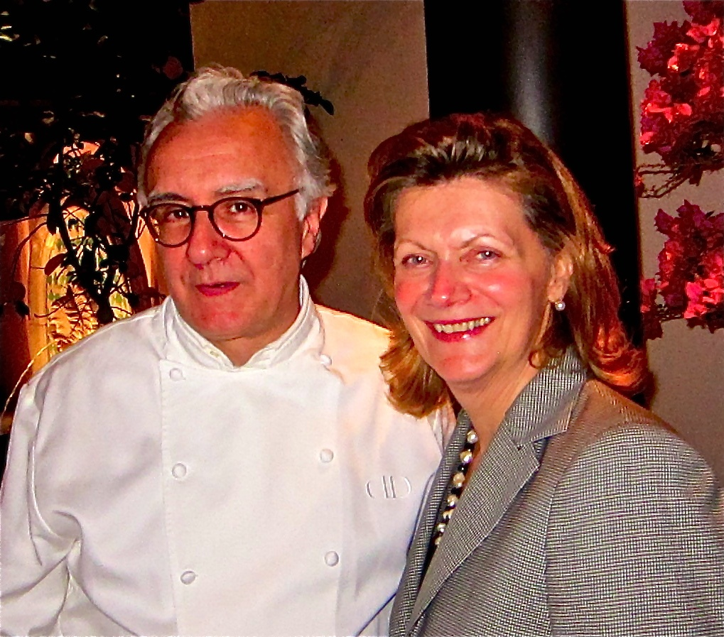 Alain Ducasse with Hotel Bel Air GM Denise Flanders