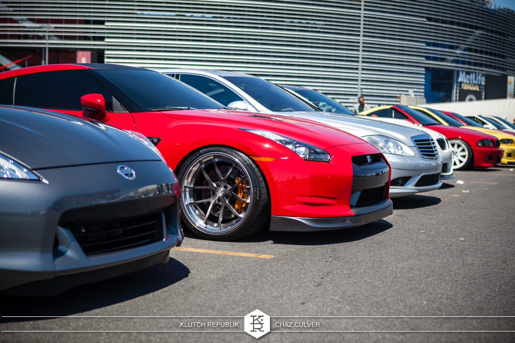 red nissian GTR static low and fitted at eurofest 2012