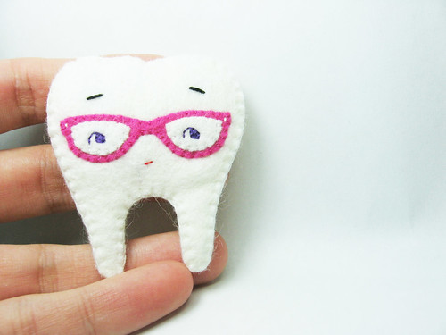 Mr. Nerdy Tooth felt brooch