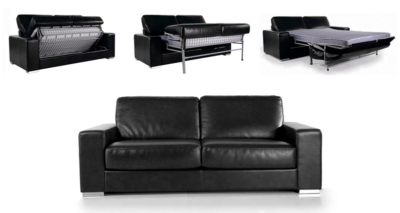 canape convertible modulo 3 places lit cuir reconstitue neuf ebay. Black Bedroom Furniture Sets. Home Design Ideas
