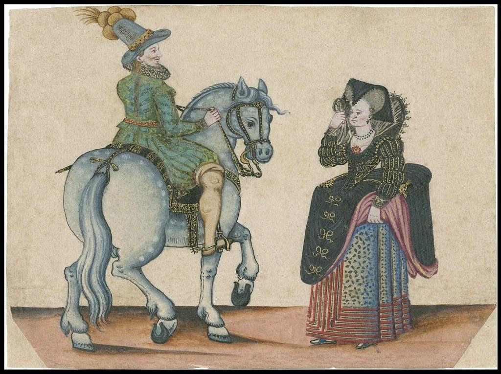 Jacobean era: nobleman on horse near well-dressed noblewoman walking