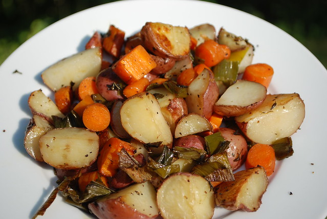 Roasted Red Potatoes, Leeks, and Carrots with Fresh Herbs