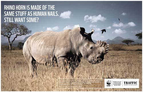 这系列海报由野生动物贸易监督机构traffic和世界自然基金会(wwf)共同