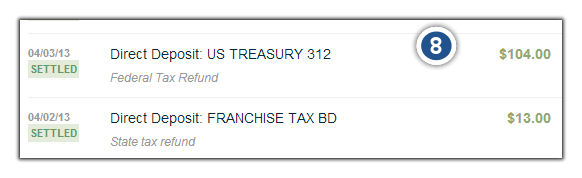 Tax Refund Transaction from Finovate Demo