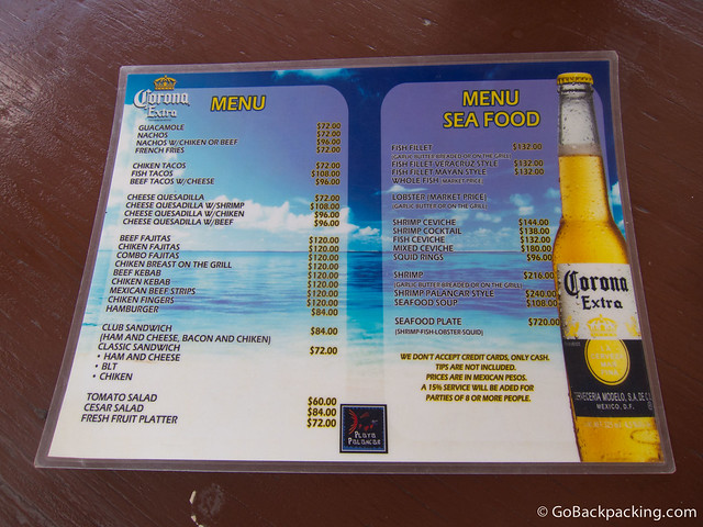 Restaurant menu at Playa Palancar