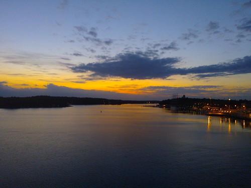 sunset sea water midnight mariehamn åland